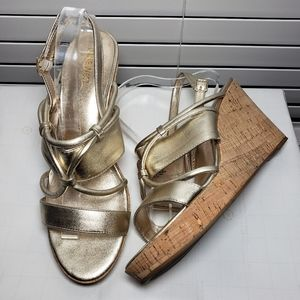Nine West Edley Wedge Gold Open Toe Sandals